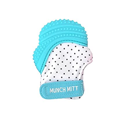 Munch Mitt® Teething Toy Stays on Baby's Hand is Self-Soothing Entertainment and Gives Pain Relief from Teething plus it's an Ideal Baby Shower Gift that includes a Handy Travel/Laundry Bag by Munch Mitt that we recomend individually.