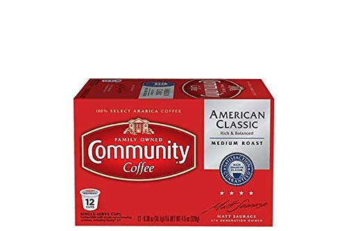 Community Coffee - American Classic Medium Roast Coffee - 12Count Single Serve, Compatible with Keurig 2.0 K Cup Brewers, Full Body Bold Taste, 100% Arabica Coffee - Classic Roast American