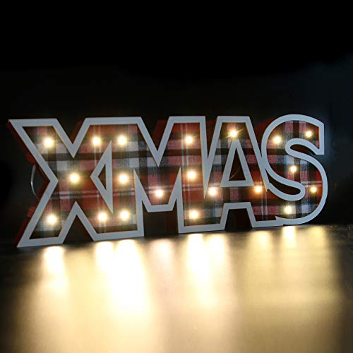 Athoinsu 5.3'' Tall Glow Xmas Sign Letters Red Plaid Wooden Letters Christmas Signs for Home Xmas Party Holiday Night Table Lamp