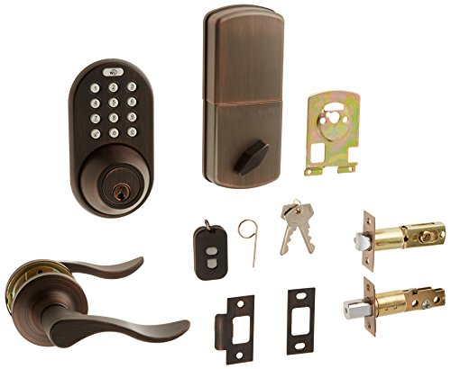 MiLocks XFL-02OB Digital Deadbolt Door Lock and Passage Lever Handle Combo with Keyless Entry via Remote Control and Keypad Code for Exterior Doors, Oil Rubbed Bronze MiProducts Corporation