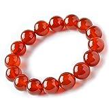 Jan Dee Natural Genuine Semi-Precious Healing Power Red Agate Crystal Bracelet Prayer Beads Elastic
