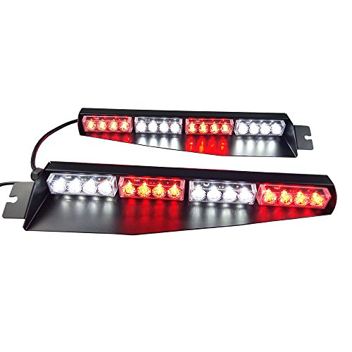 Led Visor Light - 32LED 32W LED Lightbar Visor Light Windshield Emergency Hazard Warning Strobe Beacon Split Mount Deck Dash Lamp(Red White&Red White)