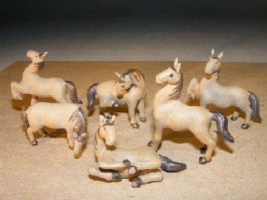 Bonsai Boys Ceramic Figurine (Bonsai Boy's Miniature Six Piece Horse Figurine Set Extra Fine Detail)