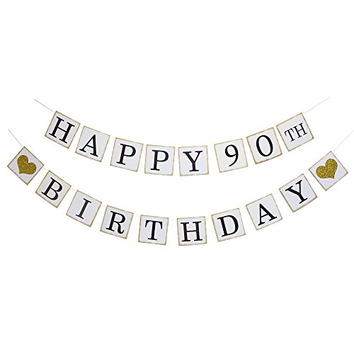 Happy 90th Birthday Banner - Gold Glitter Heart for 90 Years Birthday Party Decoration Bunting White]()