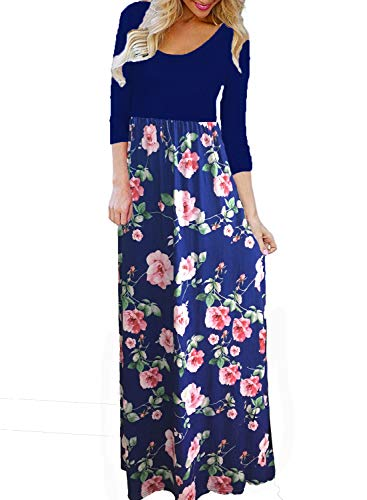 Blue Floral Sleeveless Dress - BLUETIME Women's Summer Boho 3/4 Sleeve Floral Print Long Maxi Dress (Blue, XL)