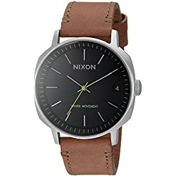 Nixon Men's 'Regent II' Swiss Quartz Stainless Steel and Leather Casual Watch, Color:Brown (Model: A973000-00)