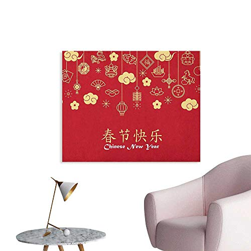Anzhutwelve Chinese New Year Photographic Wallpaper Oriental Celebration Icons Swirling Clouds and Ornaments Poster Paper Dark Coral Pale Yellow White W48 xL32