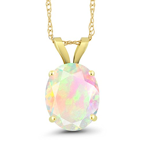 14k Gold Opal Pendant - 1.27 Ct Oval White Opal 14K Yellow Gold Pendant With Chain