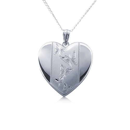 Sterling Silver Butterfly Heart Charm