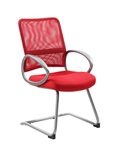 (Boss Office Products B6419-RD Mesh Back Guest Chair with Pewter Finish in Red)