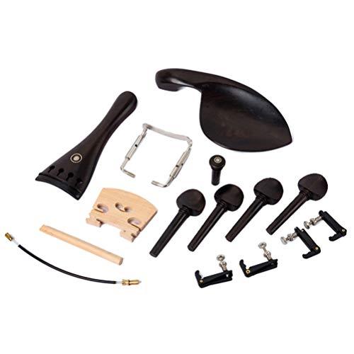 EXCEART 바이올린 부분으로 턱 나머지 ENDPIN 꼬리 코르크 나무 튜닝 못 나사 꼬리 용 바이올린 액세서리 키트 15PCS 블랙