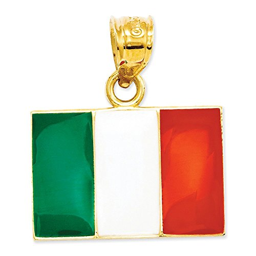 14k Yellow Gold Italy Flag Pendant With Green White And Red Colors 21x18mm