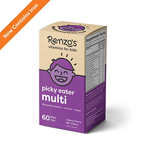 Renzo's Picky Eater Multi with Iron, Dissolvable Vegan Vitamins for Kids, Zero Sugar, Cherry Cherry Mo' Cherry Flavor, 60 Melty Tabs