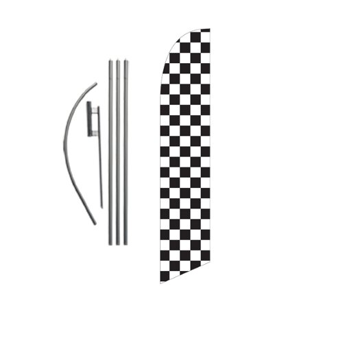 Checkered Black and White Advertising Feather Banner Swooper Flag Sign with Flag Pole Kit and Ground Stake (Ground Banner)