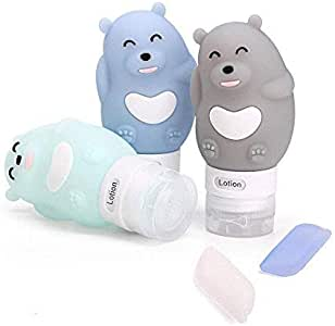 Portable Travel Bottles Set, 3-layer Leakproof and Squeezable Silicone Travel Containers and Toothbrush Cover for Shampoo, Conditioner, Lotion - BPA Free and FDA Approved (6 pack) (M)