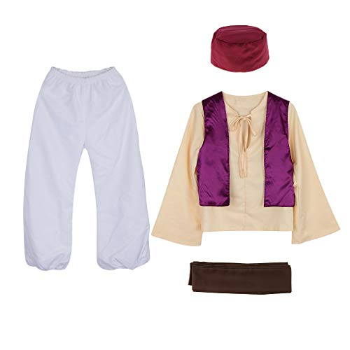Fityle Men Teenage Trendy Arabian Prince Fairy Tale Anime Sheik Arab Persia Costume Hat Cosplay Theme Party - Multicolor, L