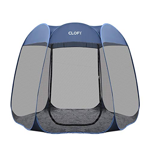 CLOFY Instant Screen Shelter Room with PE Tent Floor Mat| 360° Views Pop-up Screened Canopy Tent|Instant Portable 10'x10'x7′ Screenhouse for Camping and Travel| Instant 30 Seconds Setup No Tool Needed