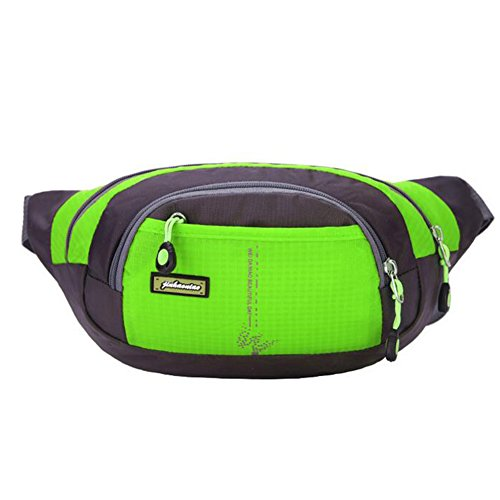 Waist Pack, Outdoor Sports Waist Bag, Bum bag, Running Exercise Hip Belt Fanny Pack, Workout Pouch With Zipper for Hiking Climbing Traveling (Green) by ISADENSER
