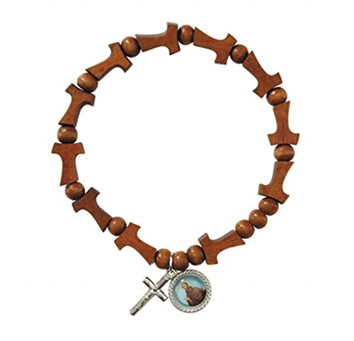 Wooden Tau Cross Bead Rosary Bracelet with Saint Francis Medal, 8 Inch