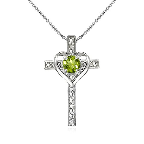 (Sterling Silver Peridot Cross Heart Pendant Necklace for Girls, Teens or Women)