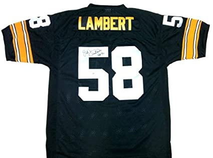 """49c387d92da Jack Lambert Autographed/Signed Pittsburgh Steelers Mitchell & Ness  Throwback NFL Jersey with """""""