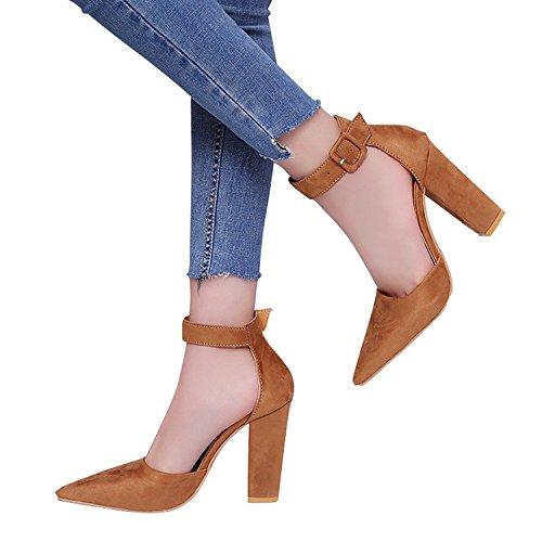 Minetom Sandalen Damen Schnalle Shoes Sandaletten 10 cm Party Blockabsatz High Heels Schuhe Elegante Abendschuhe Übergröße Sommer Khaki