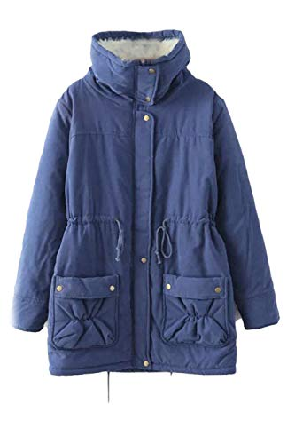Women Zip Full Blue2 Size Outwear Thick Fleece Jacket Plus Hooded qaqHvwCr