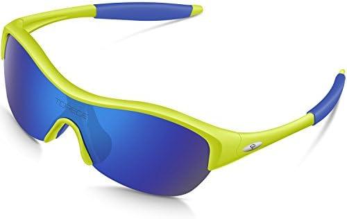 458d202cd044 Amazon.com   TOREGE Tr90 Flexible Kids Sports Sunglasses Polarized Glasses  for Junior Boys Girls Age 3-15 Trk001 (Fluorescent Yellow Blue)   Sports    ...