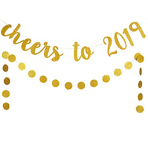 2019 New Year Eve Party Decoration Kit,Gold Glittery Cheers to 2019 Banner and Gold Glittery Circle Dots Garland
