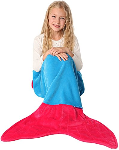3 Fairies Beauty Sleeping From Costumes (ENFY Mermaid Tail Blanket - Super Soft and Warm Minky Fabric Blanket Perfect Gift for Girls Ages 3-12 (Ocean Blue & Hot)