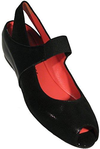 Pas De Rouge Women's 'Silvia (R918)' in The Soft Black Lizard/Nappa Leather Combination