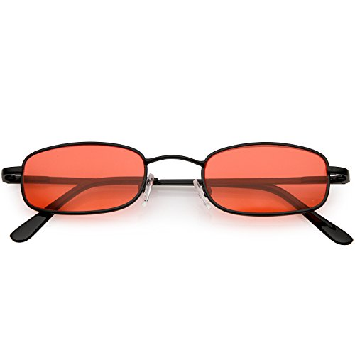 sunglassLA - 90's Small Rectangle Sunglasses For Women Men Color Tinted Lens Metal Slim Arms 45mm (Black/Red) ()