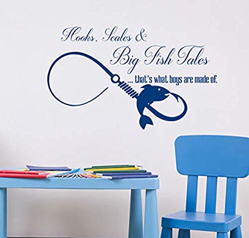 - Studio Moll Infinity Symbol Hooks Scales and Big Fish Tales Quote - Wall Decals Mural Decor Vinyl Z4460