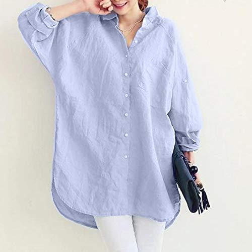 Bleu Solide Tops Blouse Chemise dcontracte lache des Shirt Femmes Grande Poche Lazzboy La Taille UBOWa