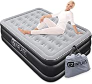 EZ INFLATE Luxury Double High Queen Air Mattress with Built in Pump, Queen Size, Inflatable Mattress for Home