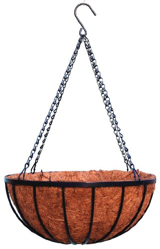 16'' Georgian Rigid Iron Hanging Basket (920-10) with Coco Moss Liner - 10 Set Pack by Topiary Art Works