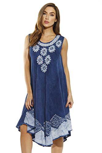 - Riviera Sun Dress / Dresses for Women,Denim / White,Medium
