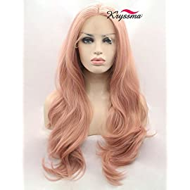 K'ryssma Fashion Orange Pink Lace Wig Mixed Color Glueless Long Natural Wavy Middle Part Synthetic Lace Front Wigs For…