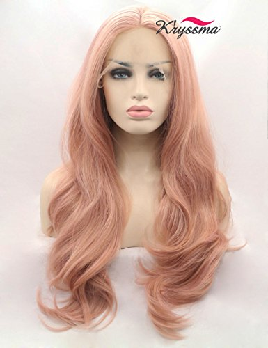 K'ryssma Fashion Orange Pink Lace Wig Mixed Color Glueless Long Natural Wavy Middle Part Synthetic Lace Front Wigs For Women Half Hand Tied Heat Resistant 22 (Color Wig)