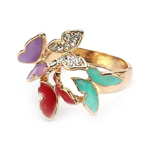 Enamel Butterfly Ring - 9