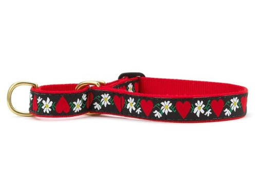 Up Country 'Hearts & Flowers' Martingale Dog Collar Small Narrow Black, Red, White