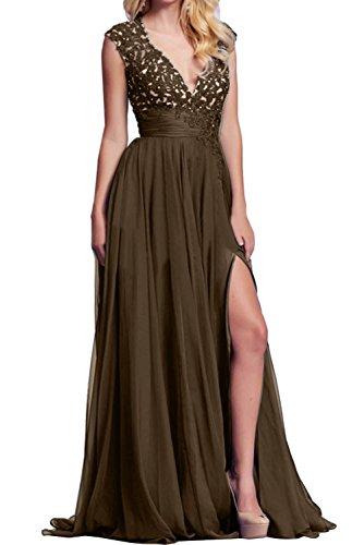 Braun Neu V Promkleid Spitze Damen Ivydressing Ballkleid Schlitz Nack Abendkleider Partykleid gqwvnxZ5