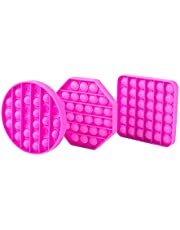 TOTTI Pop Fidget Toy Push Pop Bubble Fidget Sensory Toys Popper Fidgets Anxiety and Stress Relief for Kids and Adults (3 Pack, Pink)