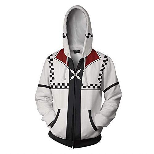 (VOSTE Sora Aqua Costume Halloween Game Cosplay Zip Up Hoodie Jacket (Medium, Color)