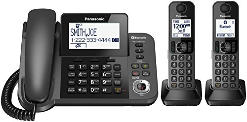 PANASONIC Bluetooth Corded/Cordless Phone System with Answering Machine, Enhanced Noise Reduction and One-Touch Call Block - 2 Handsets - KX-TGF382M (Metallic Black) (Panasonic Charging Base)