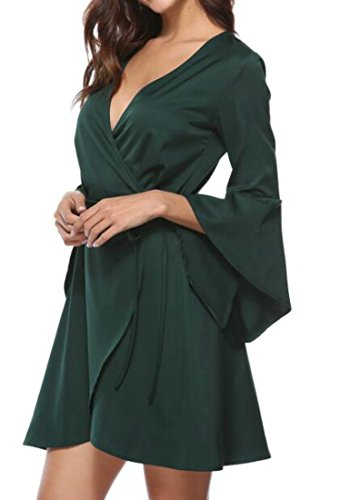 Flare Dress Green Drawstring Short V Cruiize Sexy Sleeve Neck Womens xIRRFCqa
