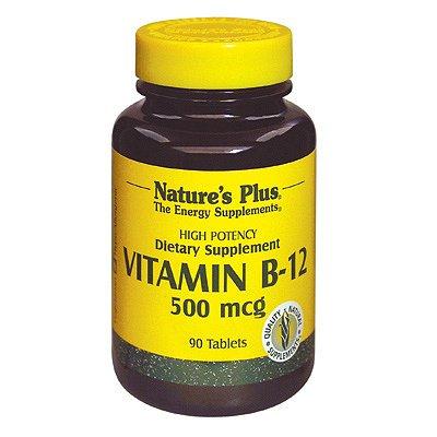 Natures Plus Vitamin B12 (Methylcobalamin) - 500 mcg, 90 Vegetarian Tablets - Energy Booster, Memory Enhancer, Mood Support, Promotes Heart Health - Gluten Free - 90 Servings