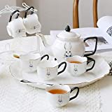 Valarie-Home Tea Cup Sets Coffee Cup Sets Of 8, Ceramic Teapot And 6 Cup And Tray, Household Ceramic Porcelain Water Cup Set, Classic Cute Bunny English Afternoon Tea Set