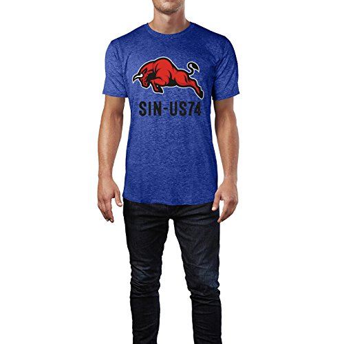 SINUS ART® Angreifender roter Bulle Herren T-Shirts in Vintage Blau Cooles Fun Shirt mit tollen Aufdruck