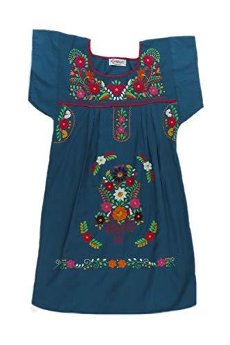 Womens 8416 Poplin Mexican Clothing Aqua Dress Mexican Dark Co Tehuacan Peasant 1qHvF